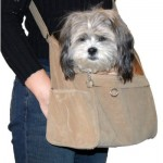 Stylish Anima Tan Suede Sling Bag Pet Carrier Purse with Adjustable Shoulder Straps