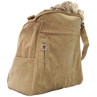 Anima Tan Suede Sling Bag Pet Carrier Purse