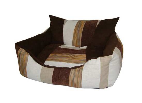 Best Pet Supplies Oval Dog Bed in Brown Stripes