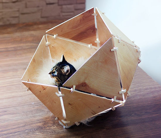 Catissa Geobed – Wooden Geometric Cat House by Ilshat Garipov
