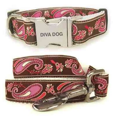 Diva Dog Pink and Chocolate Bohemian Paisley dog collar and lead