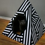 Energy Pyramid Cat House Is Made of Recycled Cardboard with 3 Diamond Cutout Toys