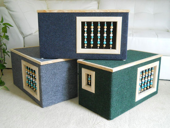 Modern Beaded Wooden Cat House by Kittenique