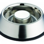 Indipets Stainless Steel Slow Eating Dish Bowl Features No-Skid Rubber Base to Prevent Tipping