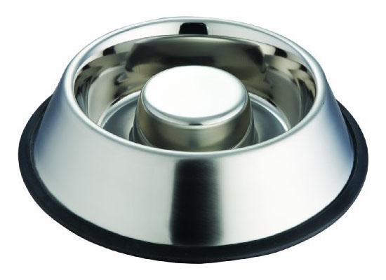 Indipets Stainless Steel Slow Eating Dish Bowl