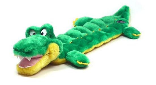 Kyjen Plush Puppies Squeaker Mat Long Body Dog Toy - Gator