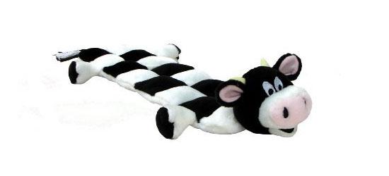 Kyjen Plush Puppies Squeaker Mat Long Body Dog Toy - Cow