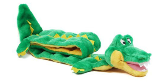 Kyjen Plush Puppies Squeaker Mat Long Body Dog Toy - Ginormous Gator