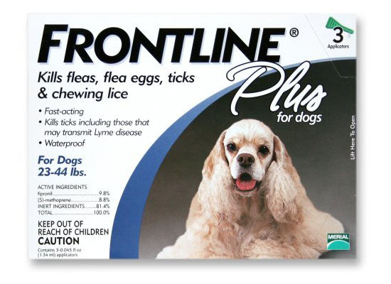 Merial Frontline Plus Flea and Tick Control for Dogs and Puppies Blue is for 23-44 Lbs