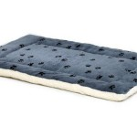 Midwest Paw Print Reversible Fleece Stuffed Bed Features Ultra-Soft Synthetic Fur and Plush Sheepskin
