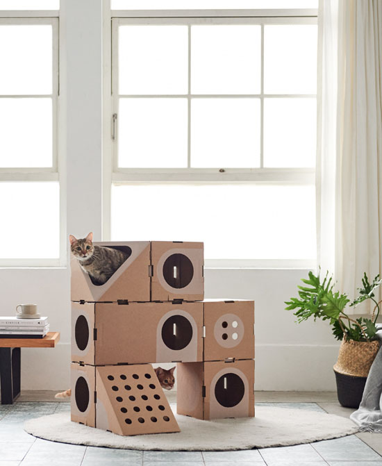 Modular Cardboard Cat House by A Cat Thing