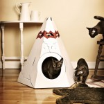 Modern Native American Teepee Cardboard Cat House Doubles As Attractive Home Accessory