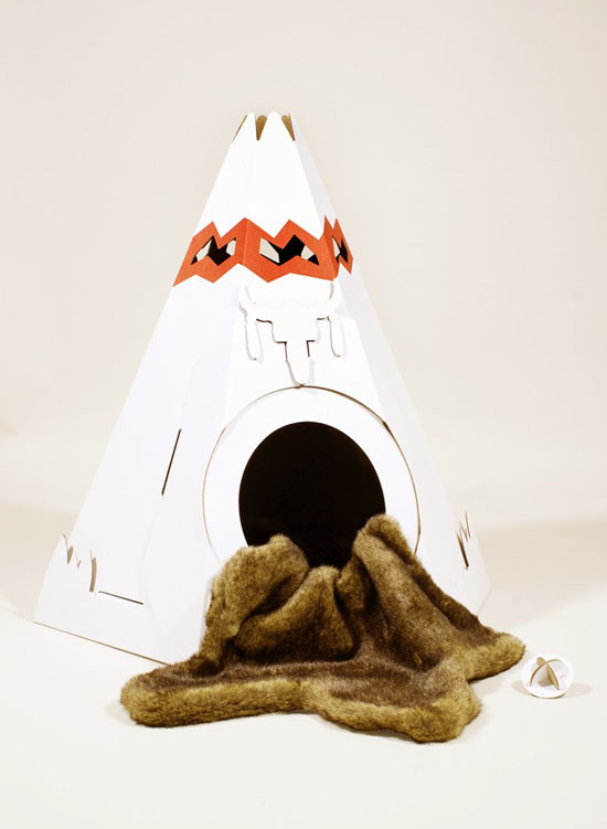 Native American Teepee Cardboard Cat House