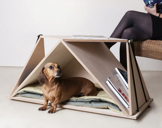 Fabbricabois Nidin Origami Coffee Table and Dog Furniture in One