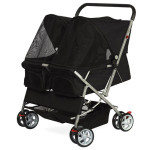 OxGord Pet Double Foldable Stroller for Dogs or Cats Is Spacious Enough for 2 Medium Sized Dogs