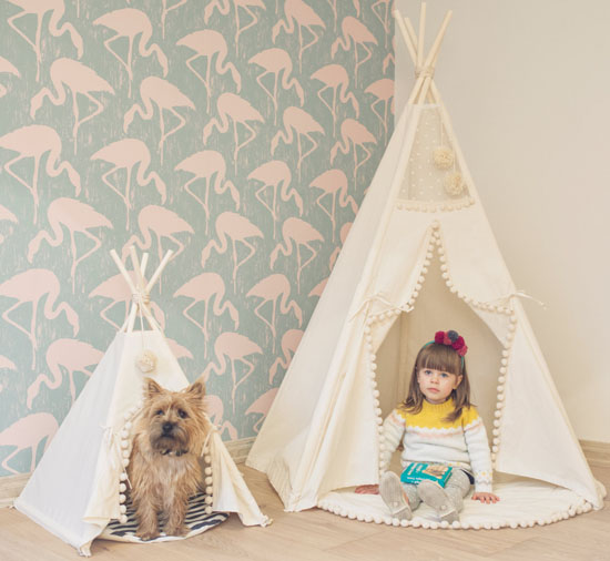 Pet Teepee with Poles and Pad for Dog