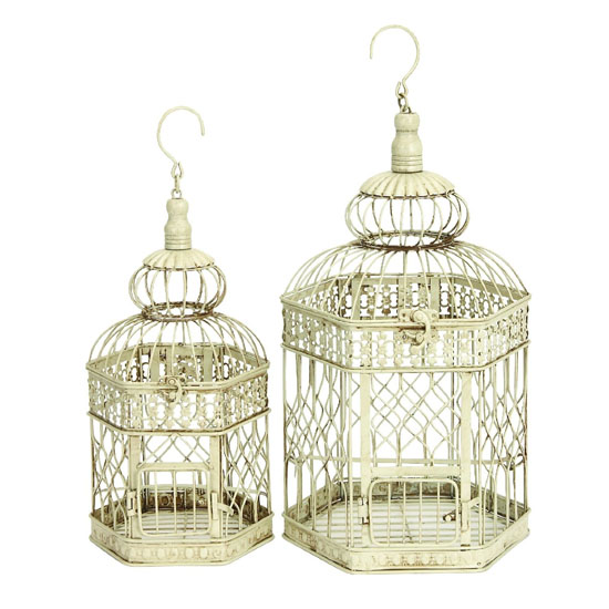 Deco 79 Metal French Style Bird Cage (Set of 2)