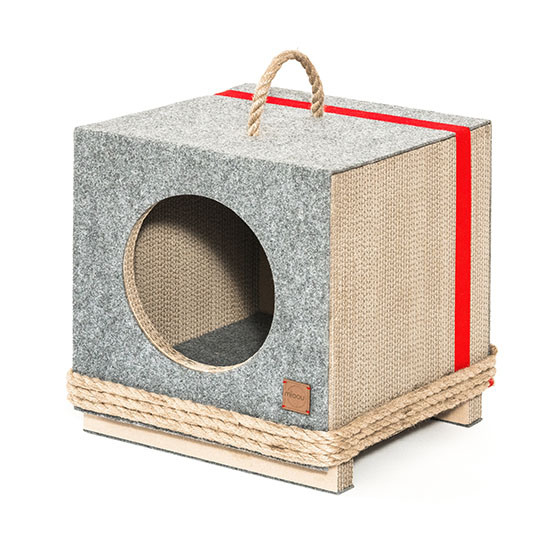 Tula Round and Rope Grey - Modern Cat House from Natural Materials