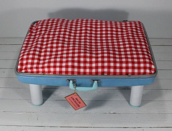 Upcycled Vintage Blue Suitcase Pet Bed